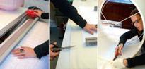 Lampenschirm Verarbeitung, Schweizer Handwerk, individuelle Lampenschirme produzieren